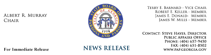 Pardons and Paroles News Release